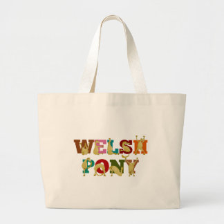 Welsh Pony with colorful text Large Tote Bag