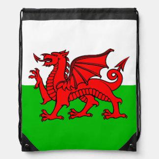 Welsh Red Dragon Wales Flag Drawstring Backpack