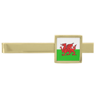 Welsh Red Dragon Wales Flag Gold Finish Tie Bar