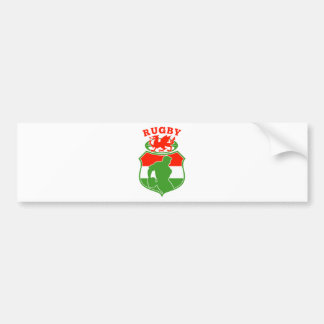 welsh rugby player wales red dragon shield bumper sticker