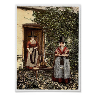 Welsh spinners and spinning wheel Wales rare Phot Poster
