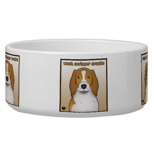 Welsh Springer Spaniel Cartoon Dog Water Bowls