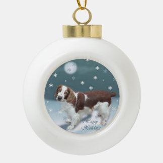 Welsh Springer Spaniel Christmas Ceramic Ball Christmas Ornament