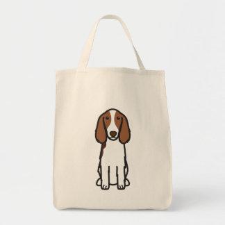 Welsh Springer Spaniel Dog Cartoon Grocery Tote Bag