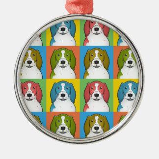 Welsh Springer Spaniel Dog Cartoon Pop-Art Metal Ornament