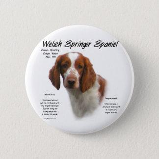 Welsh Springer Spaniel History Design Pinback Button