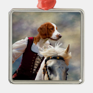 Welsh Springer Spaniel Lady Horserider Square Orna Metal Ornament