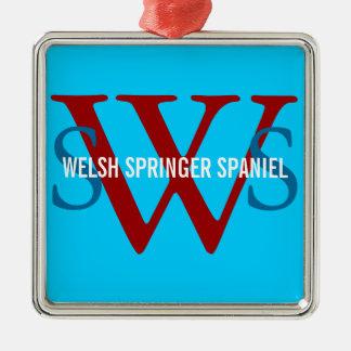 Welsh Springer Spaniel Monogram Christmas Ornament