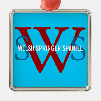 Welsh Springer Spaniel Monogram Square Metal Christmas Ornament