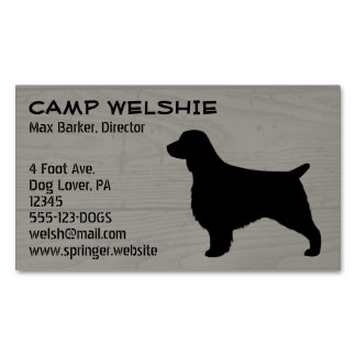 Welsh Springer Spaniel Silhouette Wood Style Magnetic Business Card