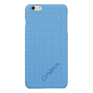 Welsh Tapestry Pattern, Blue on Pale Blue Glossy iPhone 6 Plus Case
