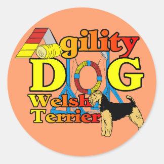 Welsh_Terrier_Agility Pegatina Redonda