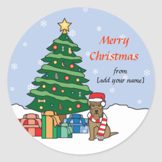 Welsh Terrier and Christmas Tree Classic Round Sticker