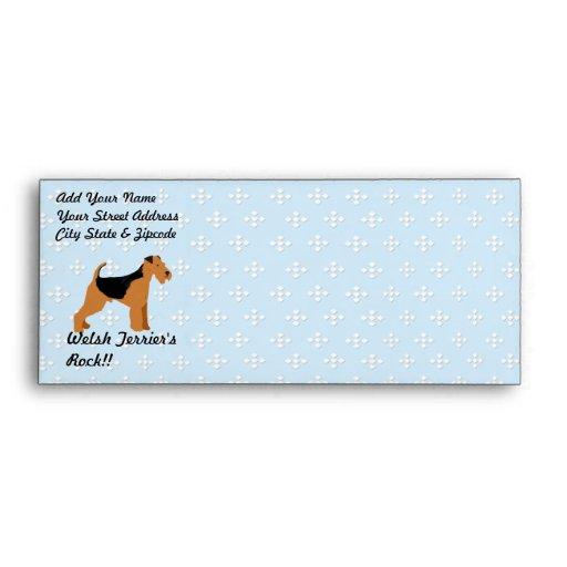 Welsh Terrier - Blue w/hite Diamond Design Envelope