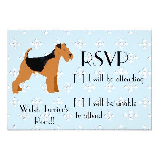 Welsh Terrier - Blue w/hite Diamond Design Invitations