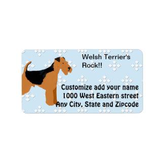 Welsh Terrier - Blue w/hite Diamond Design Custom Address Labels