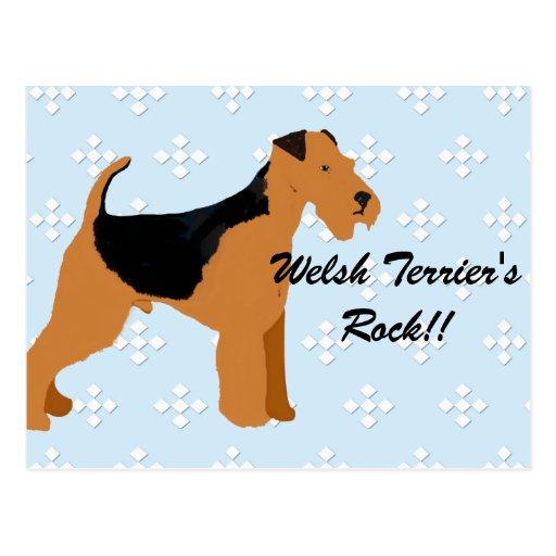 Welsh Terrier - Blue w/hite Diamond Design Post Cards