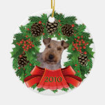 Welsh Terrier Christmas Holiday Wreath Ornament