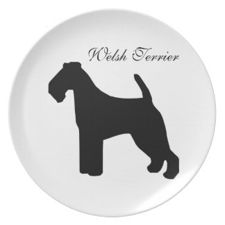 Welsh Terrier dog black silhouette plate