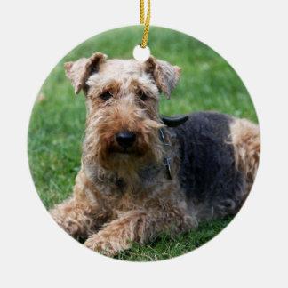 Welsh terrier dog photo I love heart ornament