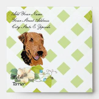 Welsh Terrier ~ Green Leaves Design Envelope