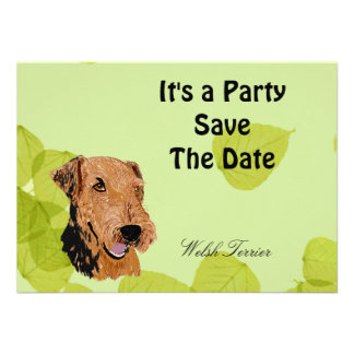 Welsh Terrier Green Leaves Design Personalized Invitation