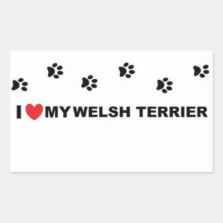 welsh terrier love rectangular sticker