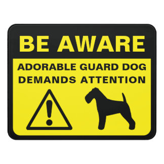 Welsh Terrier Silhouette Funny Guard Dog Sign