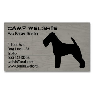 Welsh Terrier Silhouette Wood Grain Magnetic Business Card