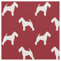 Welsh Terrier Silhouettes Pattern Red Fabric