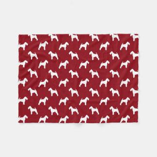 Welsh Terrier Silhouettes Pattern Red Fleece Blanket