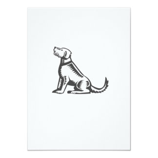 Welsh Terrier Sitting Woodcut Card