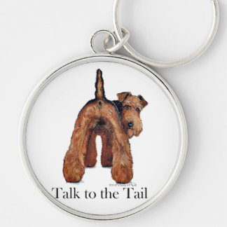 Welsh Terrier Tail Silver-Colored Round Keychain