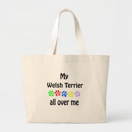 Welsh Terrier Walks Design Large Tote Bag