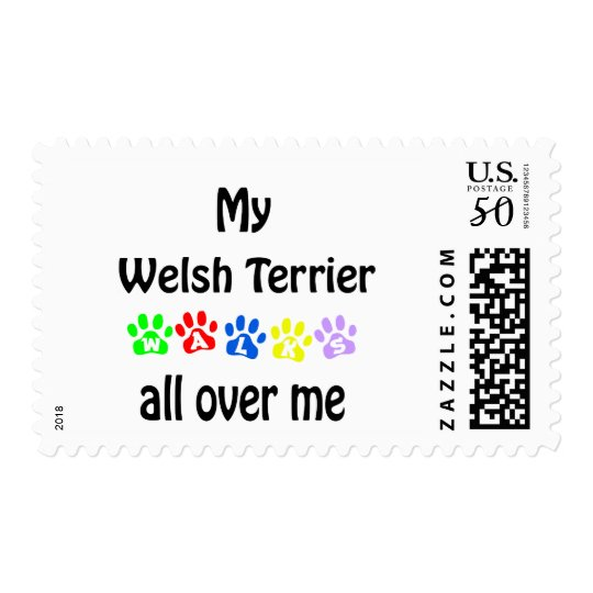 Welsh Terrier Walks Design Postage