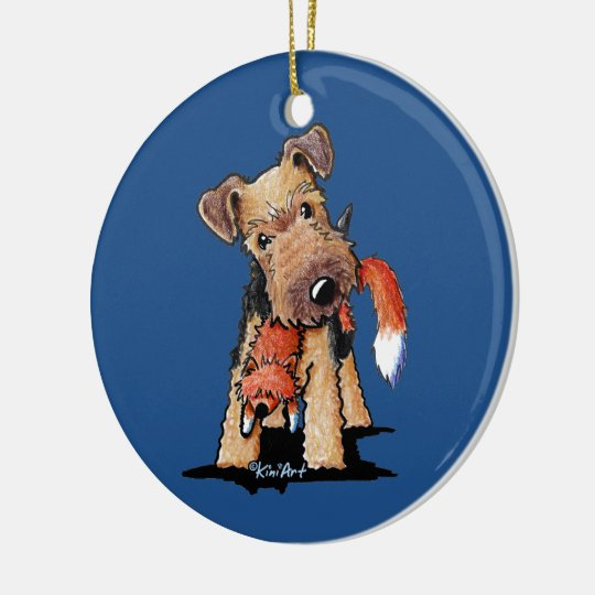 Welsh Terrier With Toy Fox Ceramic