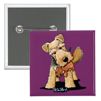 Welsh Terrier With Toy Squirrel 2 Inch Square Button