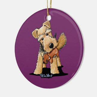 Welsh Terrier With Toy Squirrel Ceramic Ornament