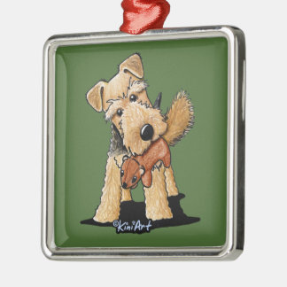 Welsh Terrier With Toy Squirrel Metal Ornament