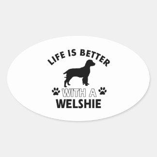 Welshie dog breed designs oval sticker
