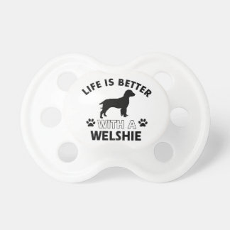 Welshie dog breed designs baby pacifiers