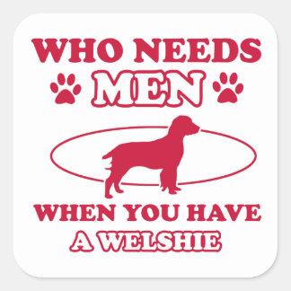 Welshie dog breed designs square sticker