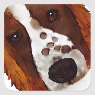 Welshie Face Art Square Sticker