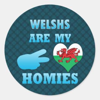 Welshs es mi Homies Pegatina Redonda