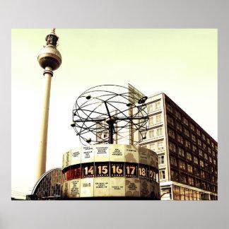 Weltzeituhr Fernsehturm Berlín Póster