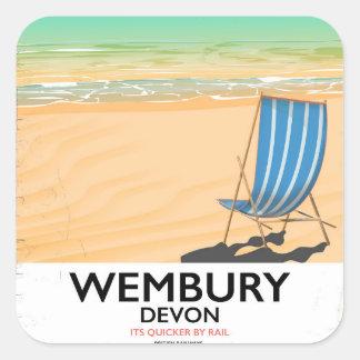 Wembury Devon Beach travel poster Square Sticker