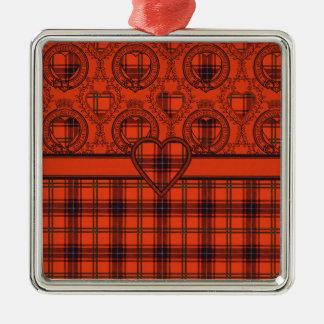 Wemyss Heart Scottish Tartan design Square Metal Christmas Ornament