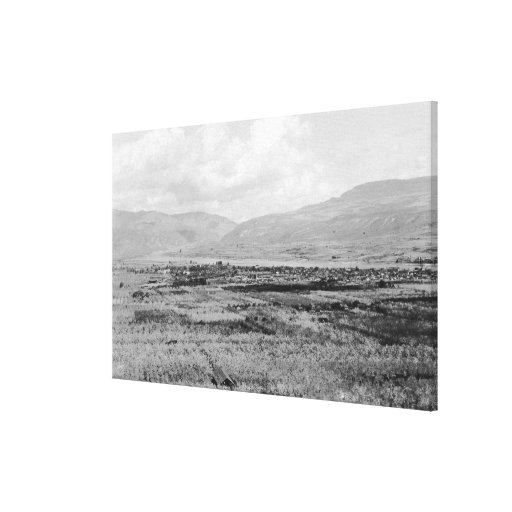 Wenatchee, WA Town View and Orchard Photograph Canvas Prints