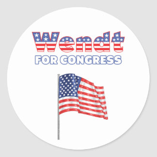 Wendt para la bandera americana patriótica del pegatina redonda