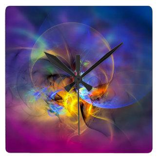 Wendy - arte abstracto digital colorido reloj cuadrado